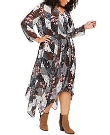 Plus Size Quilted-Print Handkerchief-Hem Dress