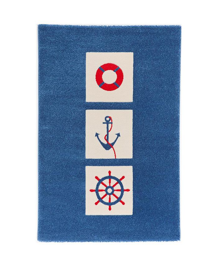 """IVI - Mariner  Soft Nursery Rug with a Playful Design for Kids Bedrooms and Playrooms, Non-Toxic, Hypo-Allergnic, 59""""L x 39""""W"""