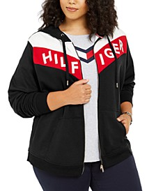 Plus Size Colorblocked Zippered Hoodie