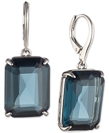 Lauren Ralph Lauren Silver-Tone Stone Drop Earrings