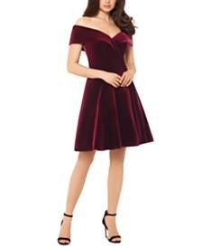 XSCAPE Velvet Off-The-Shoulder Fit & Flare Dress