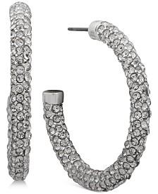 "Lauren Ralph Lauren Medium Silver-Tone Pavé Hoop Earrings 1-1/2"""