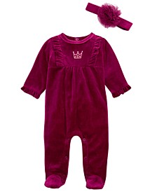 Baby Girls 2-Pc. Footed Princess Coveralls & Headband, Created For Macy's
