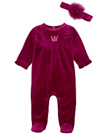 First Impressions Baby Girls 2-Pc. Footed Princess Coveralls & Headband, Created For Macy's