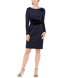 Petite Velvet-Panel Sheath Dress