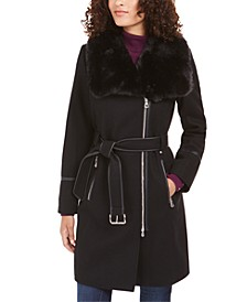 INC Faux-Fur-Collar Belted Faux-Leather-Trim Coat, Created For Macy's