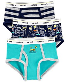 Little & Big Boys 3-Pk. Construction Cotton Briefs