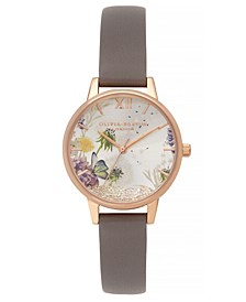 Women's Wishing Watch Gray Leather Strap Watch 30mm