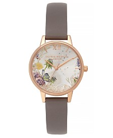 Olivia Burton Women's Wishing Watch Gray Leather Strap Watch 30mm