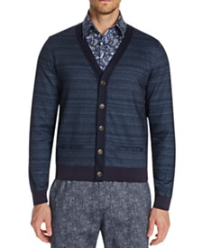 Tallia Men's Slim-Fit Stretch Striped Cardigan