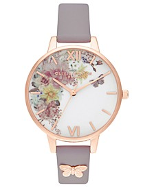 Women's Enchanted Garden Gray Lilac Leather Strap Watch 34mm