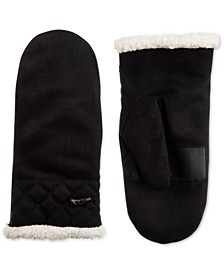 Women's Microsuede Faux-Sherpa-Lined Mittens