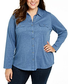 Plus Size Button-Front Collared Top, Created for Macy's