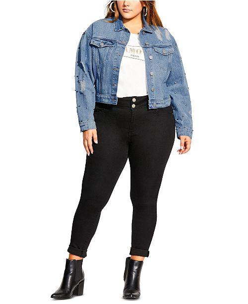 City Chic Trendy Plus Size Cotton Studded Cropped Denim Jacket