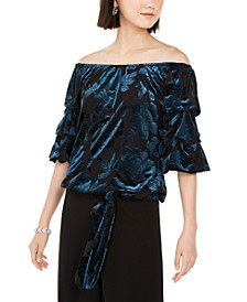 Off-The-Shoulder Burnout Velvet Top