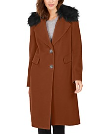 Calvin Klein Single-Breasted Faux-Fur Collar Coat
