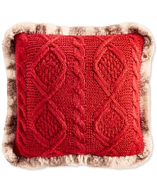 """Martha Stewart Collection Sweater Knit 20"""" x 20"""" Decorative Pillow, Created for Macy's"""