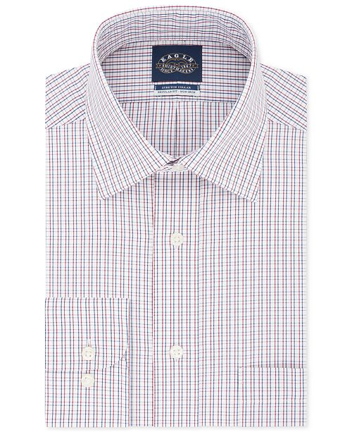 Eagle Men's Classic/Regular Fit Non-Iron Stretch Collar Check Dress Shirt