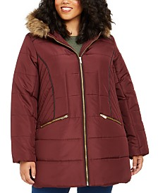 Celebrity Pink Juniors' Plus Size Faux-Fur-Trim Hooded Puffer Coat