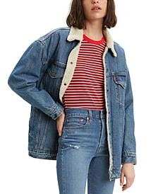 Women's Baggy Sherpa Trucker Jean Jacket