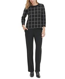Calvin Klein Printed 3/4-Sleeve Sweater