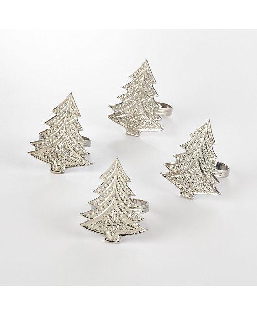 Saro Lifestyle Christmas Tree Design Christmas Tree Napkin Ring, Set of 4