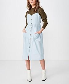 Woven Beth Button Front Midi Dress