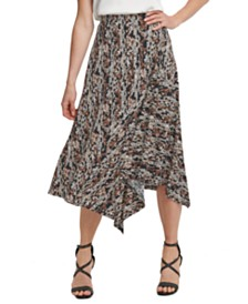 DKNY Printed Asymmetrical Skirt