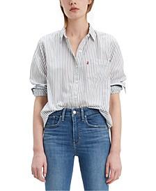 Women's Striped Cotton Double-Button Shirt