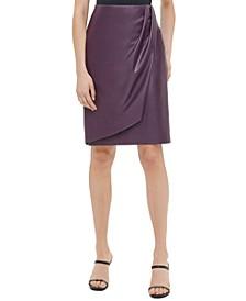 Faux-Leather Faux-Wrap Pencil Skirt