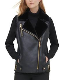 Calvin Klein Faux-Fur-Trim Motorcycle Vest