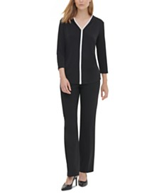 Calvin Klein Contrast-Trim 3/4-Sleeve Top