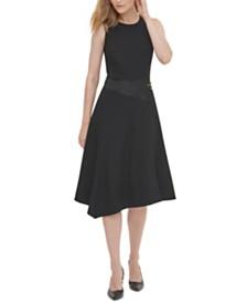 Calvin Klein Sleeveless Asymmetric Fit & Flare Dress