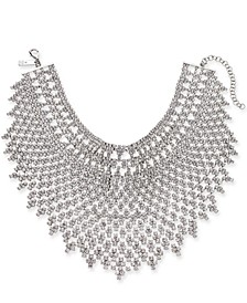 "INC Silver-Tone Crystal Geometric Statement Choker Necklace, 12"" + 3"" extender, Created For Macy's"