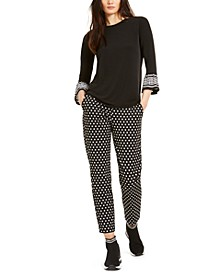 Mod Dot Flared-Sleeve Top & Pull-On Trousers