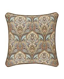 "Victoria   Turquoise Turquoise 20"" Square Decorative Throw Pillow"