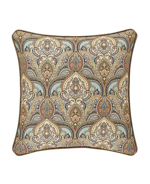 """J Queen New York Victoria   Turquoise Turquoise 20"""" Square Decorative Throw Pillow"""