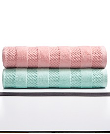 Velour Stripe Cotton Bath Towel Collection