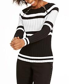 INC Petite Stripe Zipper Sweater, Created for Macy's