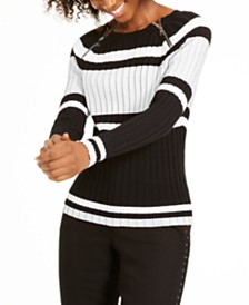 I.N.C. Striped Zipper Sweater, Created For Macy's