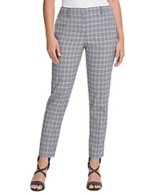 Petite Houndstooth Plaid Essex Ankle Pant