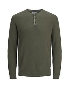 Jack & Jones Men's Autumn Long Sleeved Grandad Sweater With Contrast Details
