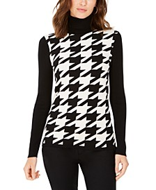 Houndstooth-Check Turtleneck Sweater