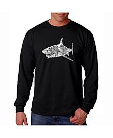 Men's Word Art Long Sleeve T-Shirt- Shark Species
