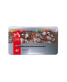Pablo Permanent Colored Pencils in A Durable Metal Box, 40 Color Assortment