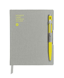 A6 Gray Notebook with Yellow 849 Ballpoint Pen