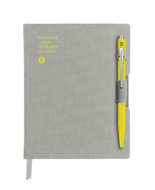 CARAN d'ACHE A6 Gray Notebook with Yellow 849 Ballpoint Pen