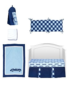 Pam Grace Creations Vintage Like Race cars 6 Piece Crib Bedding Set