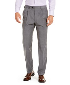 Men's Wool Blend Classic-Fit UltraFlex Stretch Double-Reverse Pleated Dress Pants