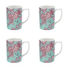 Kingsley Teal Mug, Set of 4